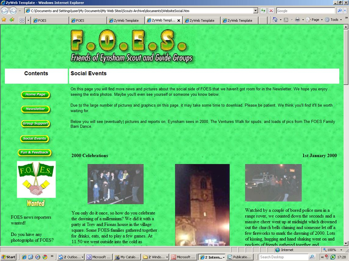 2000 FOES SOCIAL EVENTS WEB PAGE